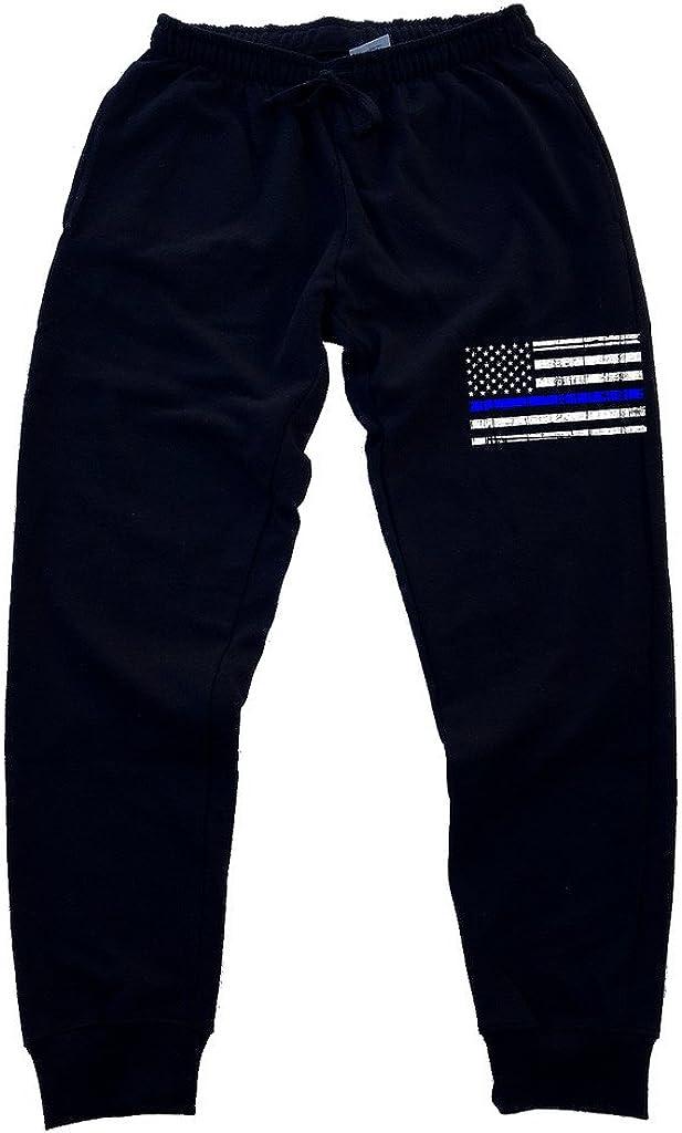 Interstate Apparel Men's Thin Blue Line Black Fleece Police Flag 5% Max 54% OFF OFF