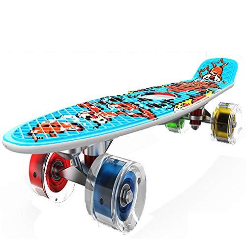 Nengge Mini Cruiser Skateboard voor kinderen, voor beginners, kunststof, compleet met led-lichtwielen, draagvermogen 50 kg, blauw