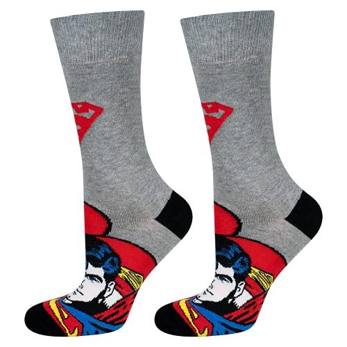 soxo Herren Bunte Socken   Größe 40-45   1 Paar   Baumwolle Gemusterte Socken mit Superman   Perfekt für Hohe & Flache Schuhe