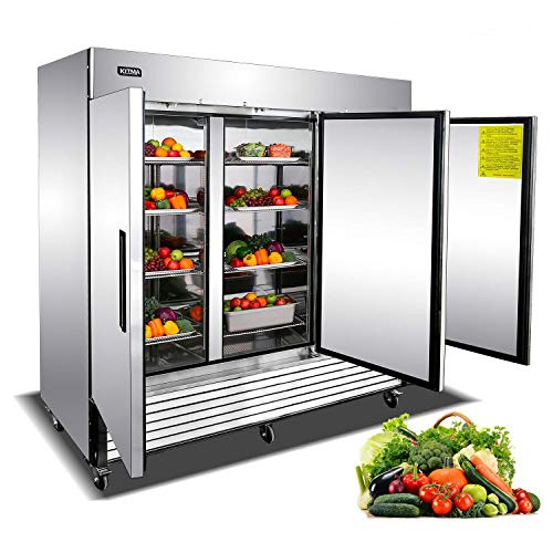 Commercial Freezer- 3 Section Solid Door Deep Freezer Upright Reach In Freezer Restaurant Equipment for Pub Club Kitchen - Stainless Steel 9 Adjustable Shelves Food Containers 72 Cu. Ft. (0°F - 8°F)