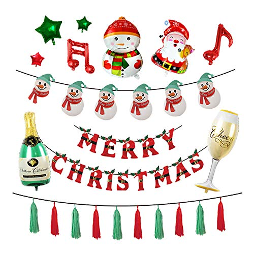 Merry Christmas Balloons Arch Kit Garland,Snowman Santa Claus Xmas Banner Christmas Decor Party
