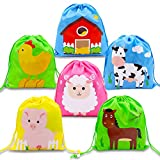 CiyvoLyeen Farm Animal Barnyard Drawstring Backpacks Party Favor Goodie Bags for Boys Girls Birthday Party Supplies 12 Pack