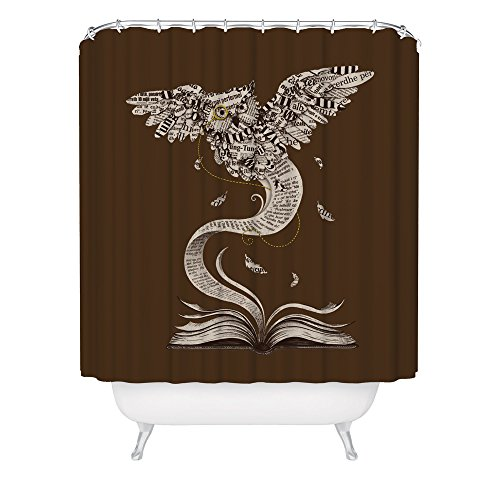 Flow of Wisdom Owl Shower Curtain / Beautiful Book Shower Curtain / Cool Animal Shower Curtain / Made in USA / Great Decoration Gift for Bathroom
