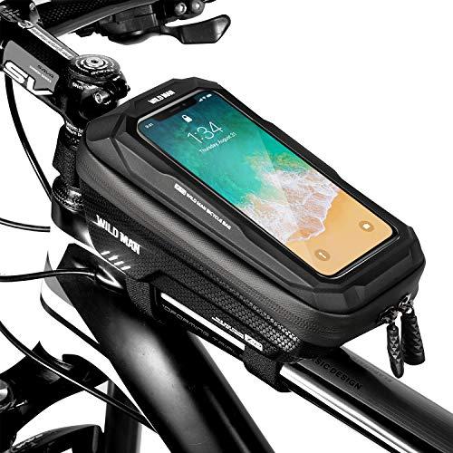ENONEO Fahrradtasche Rahmentaschen Wasserdicht Fahrrad Handytasche mit Touch-Screen Oberrohrtasche Fahrrad Handyhalterung für iPhone 11 XS MAX XR X Samsung S9 Plus S8 Plus Huawei P30 Pro (Schwarz)