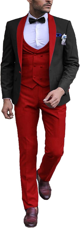 DGMJ Men 3 Piece Suit Slim Fit for Wedding Elegant Shawl Lapel Groom Tuxedo for Party JXZ024