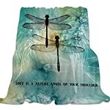 Ultra Soft Flannel Fleece Bed Blanket Dragonfly Pattern Love is a Nature Angel on Your Shoulder Throw Blanket All Season Warm Fuzzy Light Weight Cozy Plush Blankets for Bedroom 50 x 60 inches
