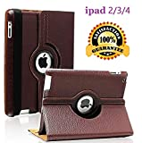 iPad 2/3/4 Case - 360 Degree Rotating Stand Smart Case Protective Cover with Auto Wake Up/Sleep Feature for Apple iPad 4, iPad 3 & iPad 2 (Brown)
