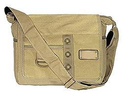 Storite Canvas Sling Cross Body Messenger College One Side Shoulder Bag for Men Women (Beige, 33 x 12 x 26 cm),SaiTech IT NISUN INC.,Beige Sling Bag 1 Hook 3 Ring