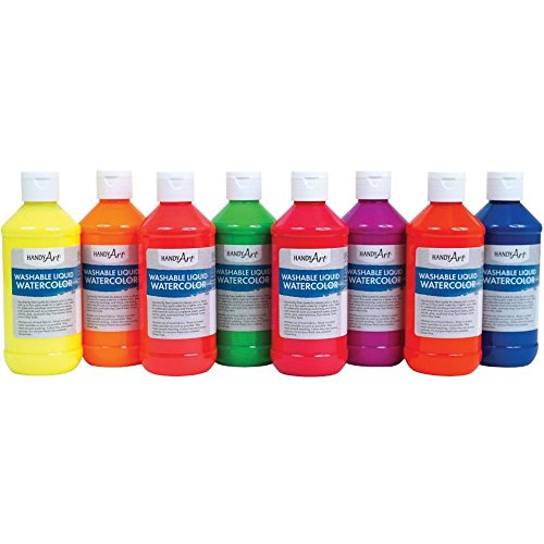 Constructive Playthings HAT-278 Fluorescent Liquid Watercolor Paint Set of 8 oz.Bottles, Grade: 1 to 5, Age: 9.4' Height, 6Wide, 4.8' Length