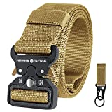 """Fairwin Tactical Belt for Men, Military Style 1.5"""" Nylon Web Belt with Heavy-Duty Quick-Release Metal Buckle (Brown, S (Waist 30''-36''))"""