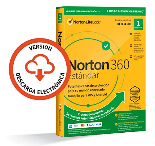 Norton 360 Estándar 2020 - Antivirus software para 1 Dispositivo con renovación automática, 1 año, PC/Mac/tablet/smartphone, Código de activación enviado por email