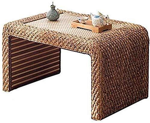 YVX Mesa Auxiliar Rectangular de ratán, Mesa Auxiliar con Ventana de Madera Maciza, Mesa de Comedor, Mesa de té Japonesa, Mesa Baja de terraza Simple con Asiento a Juego