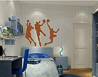 """Amaonm 31.5"""" x 53.1"""" Removable DIY Vinyl Three Basketball Players Slam Dunk Silhouette Wall Decals Spoting Basketball Duck Layup Sporter Wall Sticker for Kids Room Boys Bedroom Classroom (Brown)"""