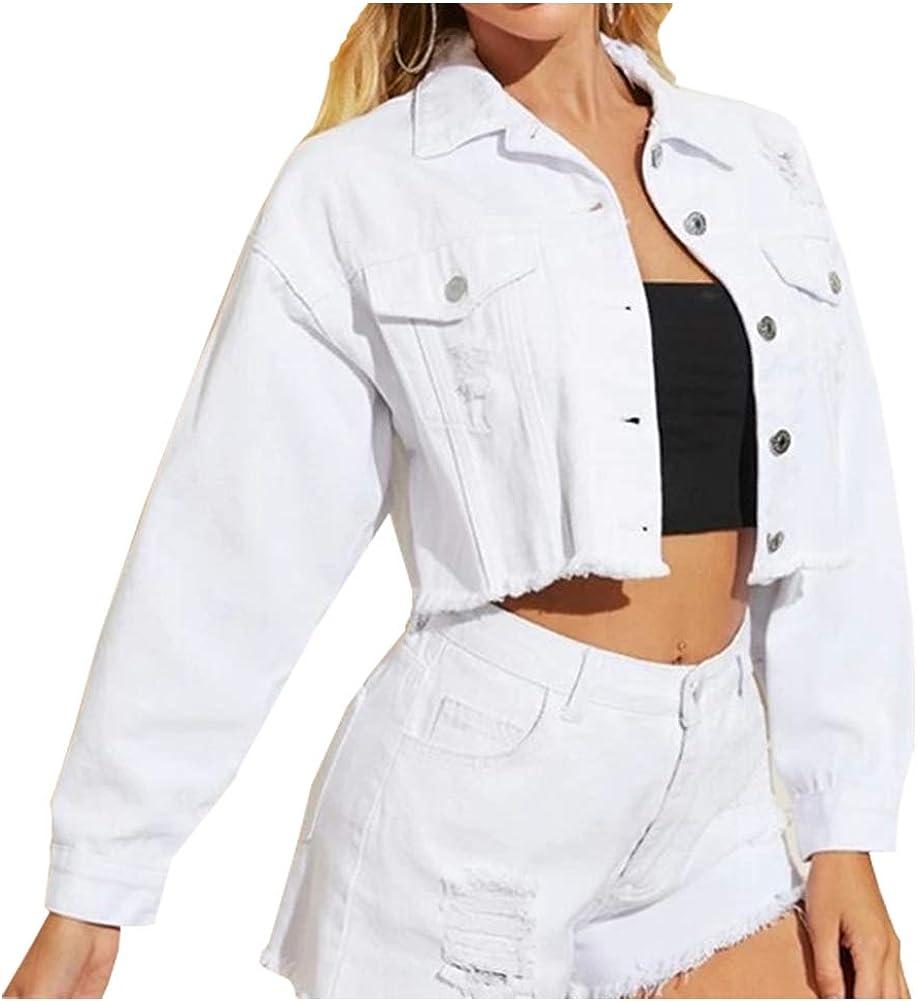LifeShe Women Cropped Ripped Distressed Denim Jean Jacket Coat with Frayed Hem