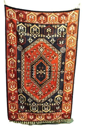 Kotsa | Seidenteppich | Kaschmiri Teppich | Handgemachter Seidenteppich | Geometrischer Teppich | Teppich für Schlafzimmer | Bodenteppich | Fliesenteppich | KC30