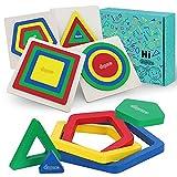 Japace Puzzles de Madera Educativos para Bebé, 4 Piezas Rompecabezas de Madera Arcoíris Juguetes de Forma Geométrica, Juguetes Montessori de Aprendizaje Temprano para 1 2 3 4 Año Niña Niño