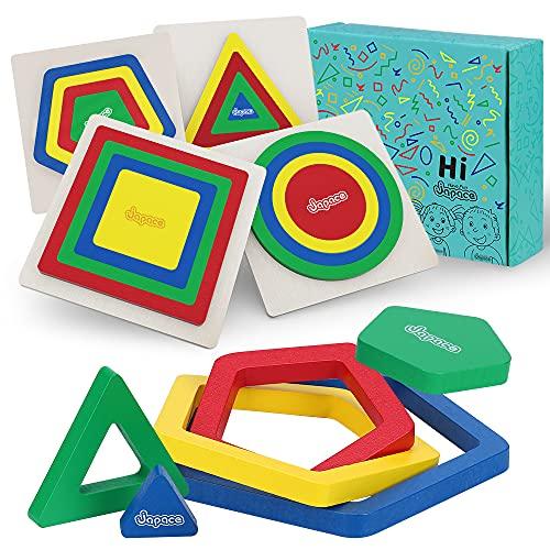 Puzzles de Madera Juguetes Bebe, 4 Piezas Rompecabezas de Madera Arcoiris Juego de Memoria Aprendizaje Forma Tamano Colore Juguete Educativo Montessori Regalo para 2 3 4 Año Niños Niña Niño