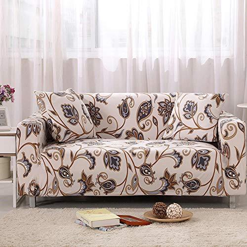 Funda de sofá de 2 Plazas Funda Elástica para Sofá Poliéster Suave Sofá Funda sofá Antideslizante Protector Cubierta de Muebles Elástica Flor Amarilla Vintage Funda de sofá