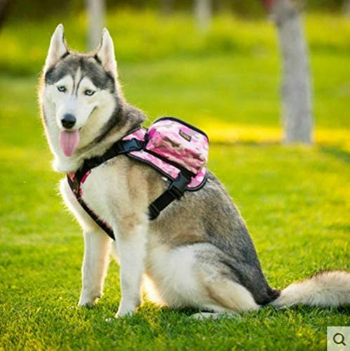 Since pet Dog Backpack Harness with a Dog Leash Outdoor Bags of Clothes,Since Pink Camouflage Backpack,L