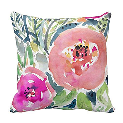 Emvency Throw Pillow Cover Colorful Bohemian Peach Floral Boho Watercolor Pink Painterly Decorative Pillow Case Home Decor Square 20 x 20 Inch Pillowcase