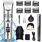 POLENTAT Hair Clippers for Men Professional Hair Cutting Kit Electric Beard Shaver IPX7 Waterproof USB Rechargeable with Hairdressing Cape for Family Use