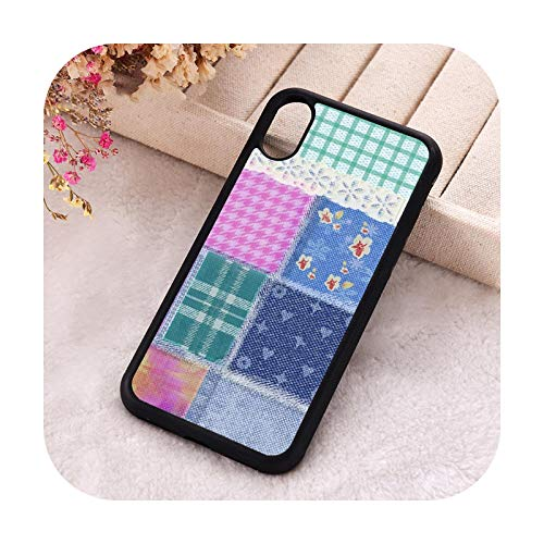 Phone Cover Schutzhülle für iPhone 6 6S 7 8 Plus X Xs XR 11 12 Mini Pro Max 5 5S SE 2020 Gummi Silikon Patchwork Design für iPhone 8