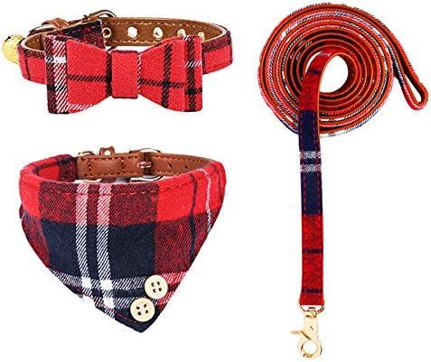 Bow Tie Dog Collar and Leash Set Classic Plaid Puppy Collar Cat Collar Adjustable Dog Bandana product image