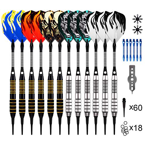 ONE80 Dartpfeile, Dartpfeile mit Kunststoffspitze, 18 Gramm Profi Softdarts (16 Gramm Barrel), 12 Stück Soft Darts Pfeile Set