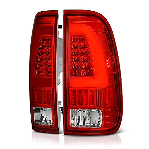 VIPMOTOZ Neon Tube LED Tail Light Lamp Assembly For 1997-2003 Ford F-150 & 1999-2007 Ford Superduty F-250 F-350 Pickup Truck - Rosso Red Lens, Driver and Passenger Side