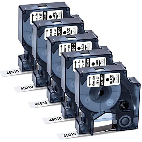 MarkField 12mm x 7m Nastro Compatibile con Dymo D1 45010 S0720500 Etichette Cassette per Dymo LabelManager 120P 160 210D 220P 360D 420P Labelpoint 250 150 Labelwriter 450 Duo, Nero su Transparent