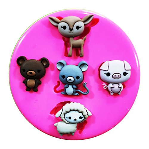 Granja Buddies diseño de oveja Pig ratón oso molde de silicona para decoración de dulces para tartas forma de personajes de Frozen