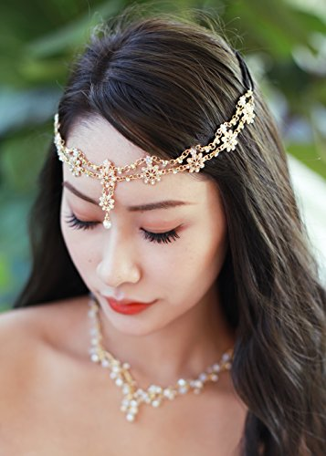 Gracewedding - Bijoux de tête pour mariage et festival bohème, chaîne dorée