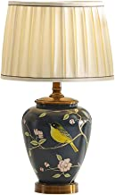 CXQ American Retro Style Table Lamp Creative Hand-Painted Table Lamp European Wedding Living Room Bedroom Dark Green Table...