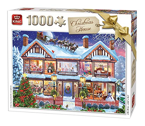 KING 55873 Puzzle Weihnachtshaus, 1000 Teile, vollfarbig, 68 x 49 cm
