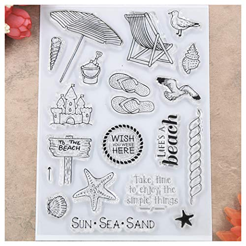 Kwan Crafts Beach Sun Sea Sand Clear Stamps for Card Making Decoration and DIY Scrapbooking