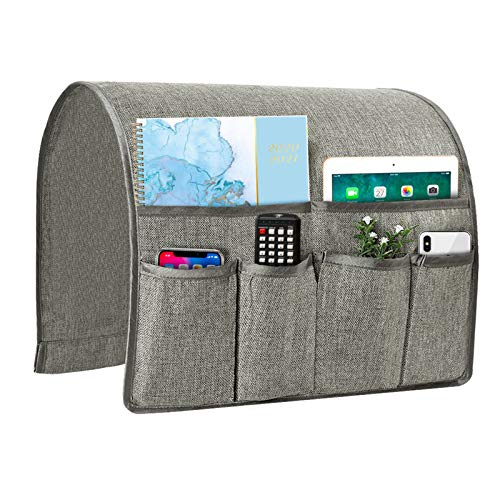Joywell Sofa Armrest Organizer, Remote Control Holder for Recliner Couch, Arm Chair Caddy with 6 Pockets for Magazine, Tablet, Phone, iPad, Light Gray