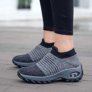 Metyere – Scarpe da passeggio da donna, alla moda, traspiranti, in rete, comode, con zeppa e plateau, aumentano l…