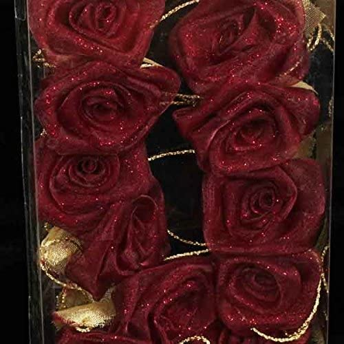 Portland Mall Club Pack of 6 Shimmery Burgundy Rose Max 42% OFF Garland Flower Craft Wired