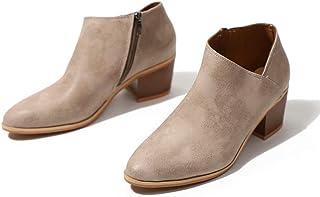 e4addbbe Botines Mujer Tacon Medio Invierno Planos Tacon Ancho Piel Botas Botita Moda  5cm Casual Planas Zapatos