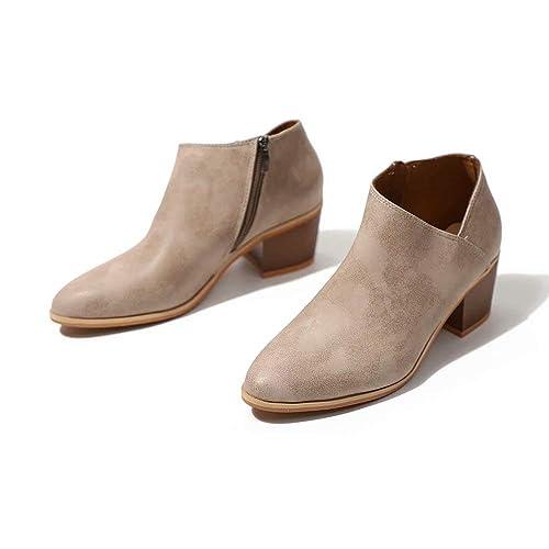 25b055868294 Bottine Femmes Plates Boots Femme Cuir Cheville Basse Bottes Talon Chelsea  Chic Compensé Grande Taille Chaussures