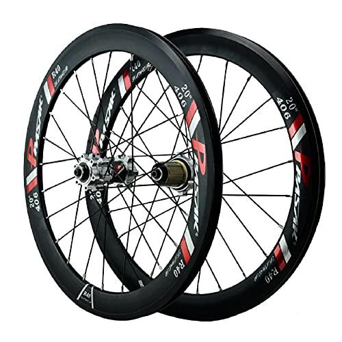 ZPPZYE Ruedas Bicicleta Freno V 20' 22 Pulgadas, Aleación Aluminio Bicicleta Rodamiento Sellado Híbrida/MTB 24 Hoyos para 7/8/9/10/11/12 Velocidad (Size : 20 Inch)