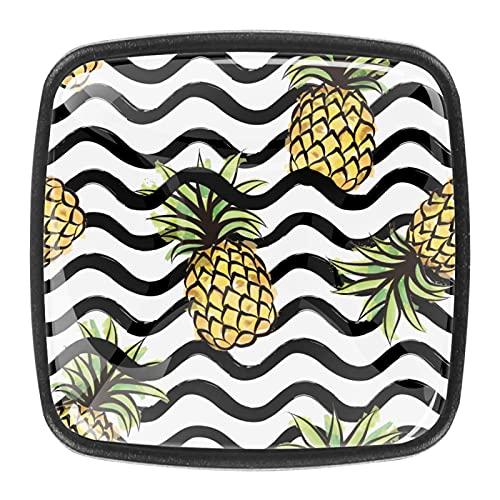 Pomos de cristal blanco y negro con diseño de rayas de frutas para gabinetes de cocina, armarios, estanterías, cajoneras, paquete de 4