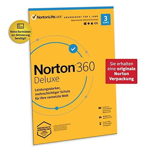 Norton 360 Deluxe 2020 | 3 Geräte | Antivirus | Unlimited Secure VPN und Passwort-Manager | 1 Jahr | PC, Mac oder Mobilgerät | Aktivierungscode in Originalverpackung