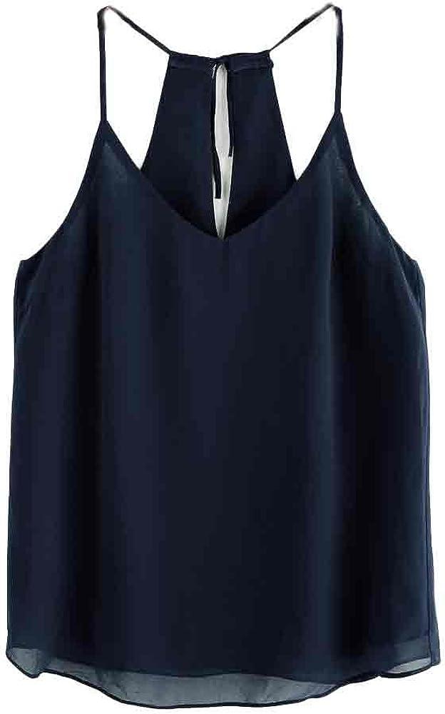 Women Chiffon Tank Tops Casual Sleeveless Blouse Teen Girls Cami Shirts Halter Vest for Summer