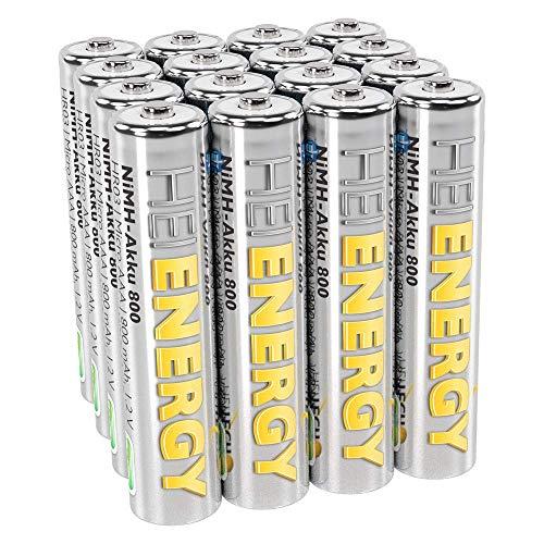 HEITECH AAA Akku Micro 800 mAh 1,2V NiMH TÜV geprüft 16 Stück - Wiederaufladbare Batterien mit geringer Selbstentladung - Akkus für Geräte mit hohem Stromverbrauch