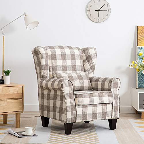 Warmiehomy Wing Back Armchair Fabric Tartan Fireside Accent Chair with Solid Wood Legs for Living Room Bedroom Reception Contemporary (Beige & Light Grey)