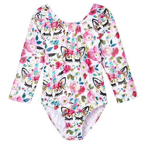 Midout Toddler Leotard Gymnastics Long Sleeeve White Floral,Girls Leotards Costumes for Team Sport Motionwear 3t 4t