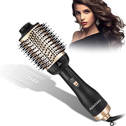 Aokebeey Haartrockner Warmluftbürste Multifunktional 5 In 1 Rundbürstenföhn Negativer Lonenfön Föhn Haarglätter Bürste Heißluftkamm Hair Styler & Volumizer Heißluftbürste für Alle Haartypen