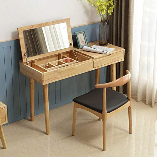 N/Z Living Equipment Dressing Tables 2 in 1 Flip Style Dressing Table with Drawers and Makeup Stool Solid Wood Large Capacity Vanity Set Makeup Dresser Desk for Girl in Bedroom Girls Dresser