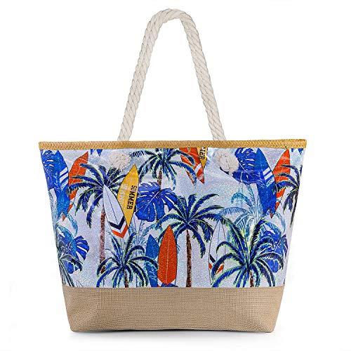 Joeyer Trendige Canvas Strandtasche mit Reißverschluss, Große Reise Einkaufstasche...
